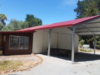Garaport attached to existing annexe with horizontal cladding 9m x 15m x 3.2m (5)